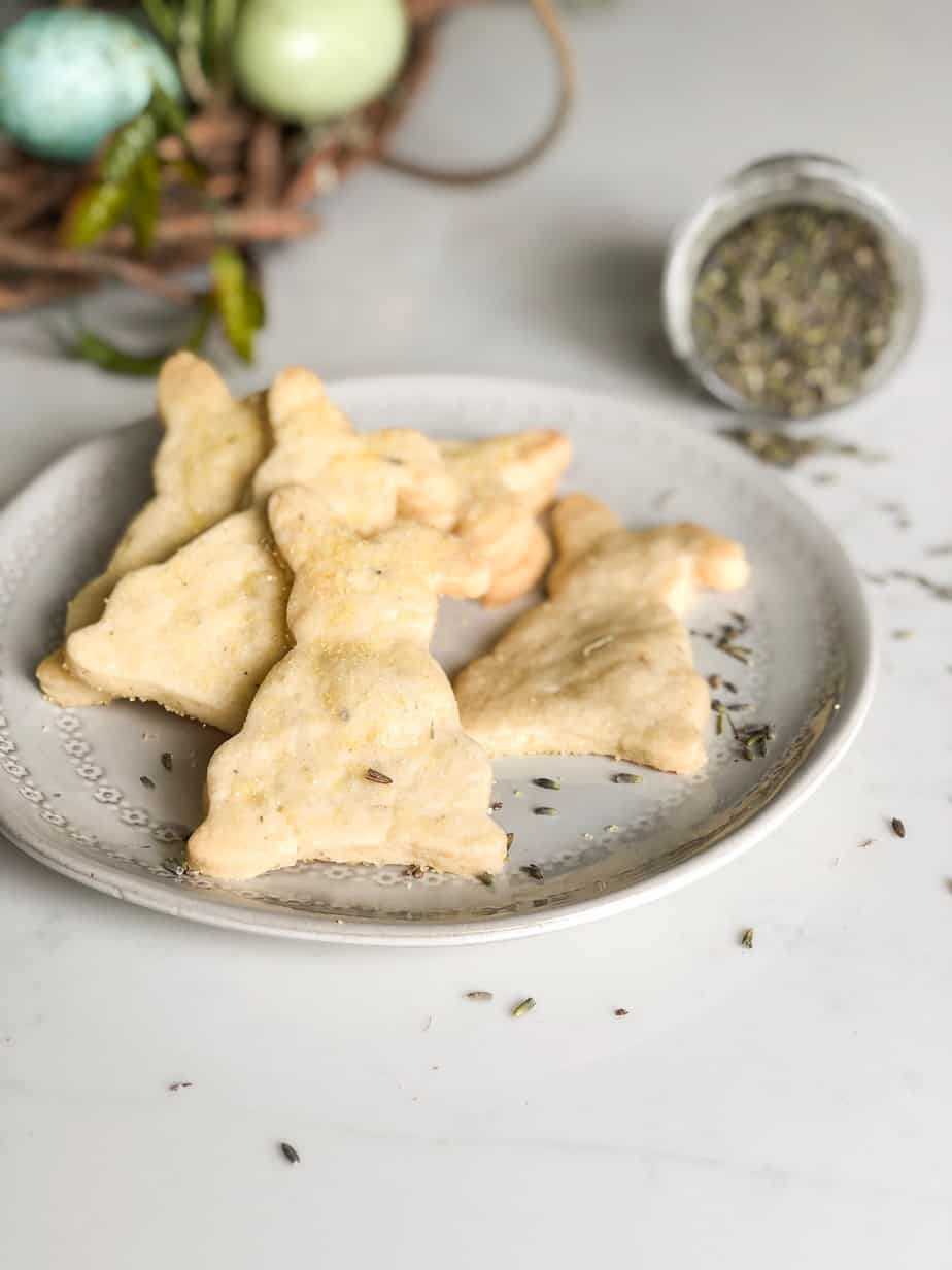 Lemon Lavender Shortbread Cookies on Plate