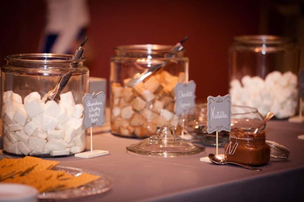 S'mores bar set up at wedding