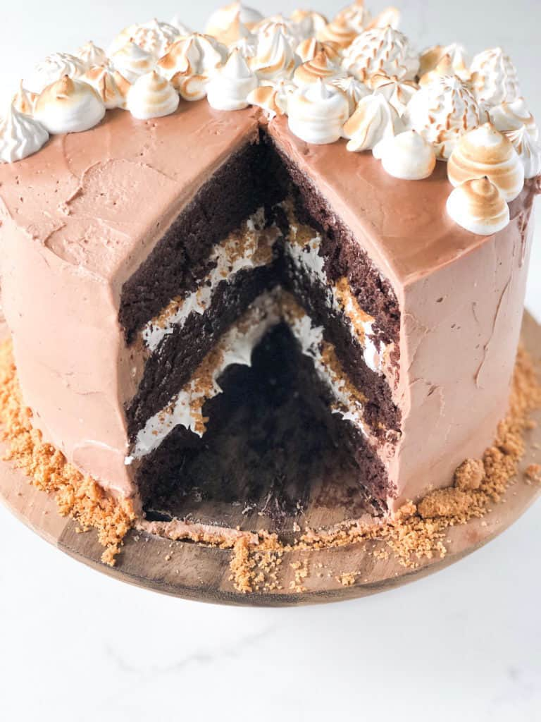 Nutella s'mores cake topped with toasted marshmallow