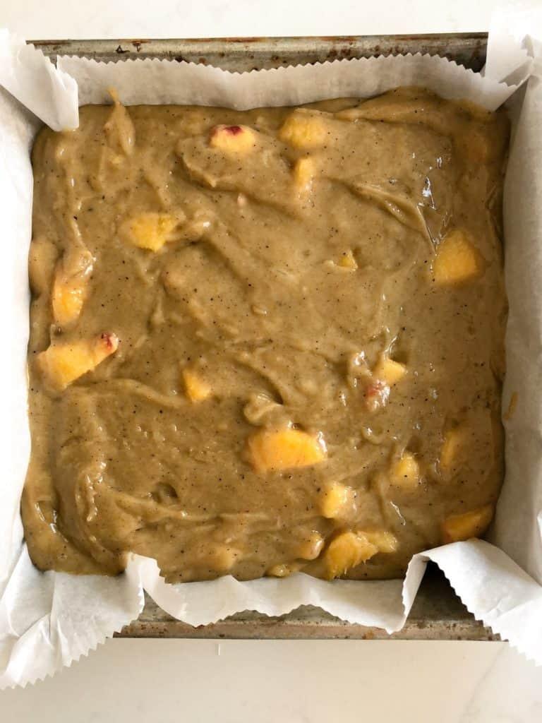 Brown Butter Peach Blondie Batter in Pan