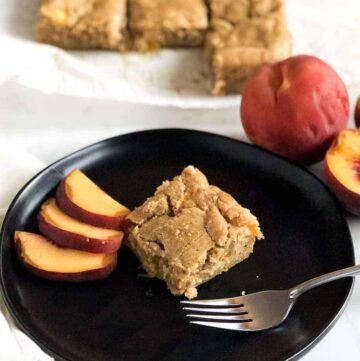 brown butter peach blondie on a plate
