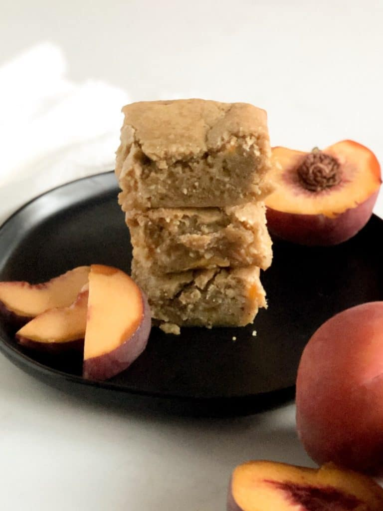 Stack of Brown Butter Peach Blondies
