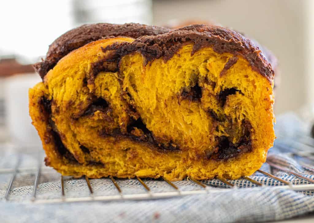 close up of pumpkin nutella babka
