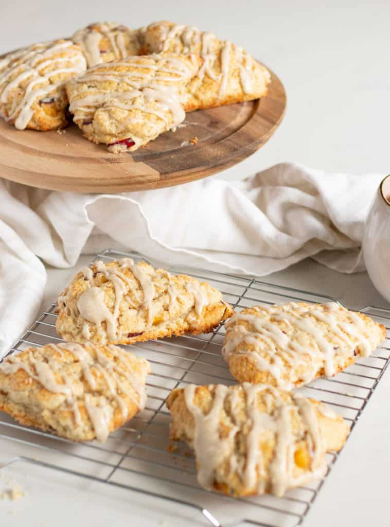 Vanilla Cardamom Plum Scones on cooling rack