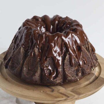 Chocolate Zucchini Cake on Pedestal