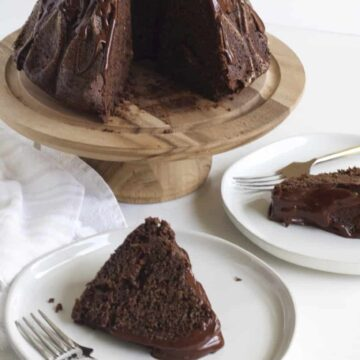 Slices of chocolate cake on plate