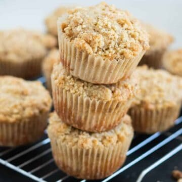 stack of apple crumb muffins