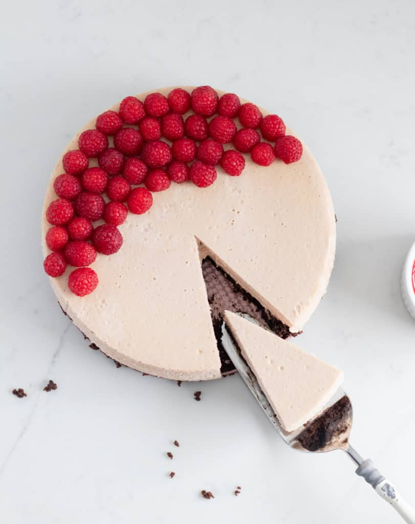 top view of raspberry cheesecake