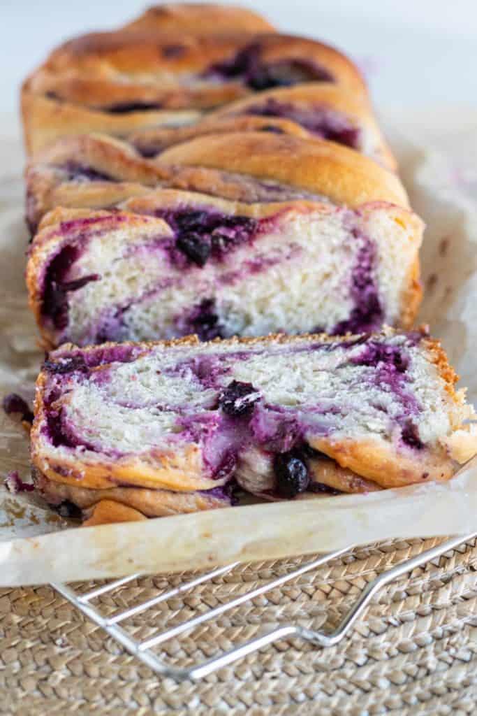 blueberry cream cheese babka loaf sliced