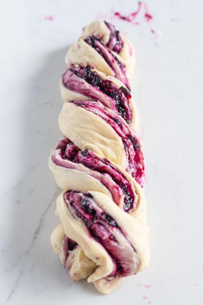 braided blueberry cream cheese babka dough