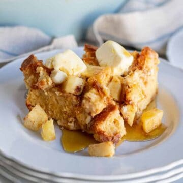 close up of apple french toast casserole slice on a plate