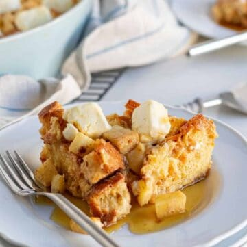 slice of french toast casserole on plate with fork