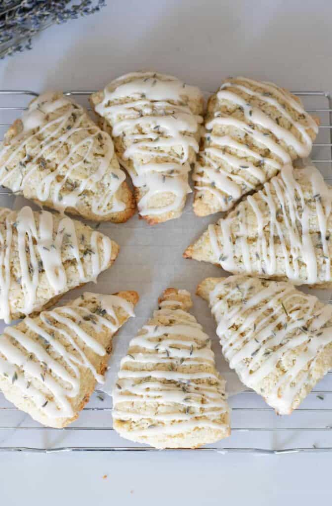 circle of lavender scones on cooling rack