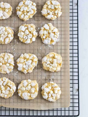 lemon crinkle cookies on cooling rack