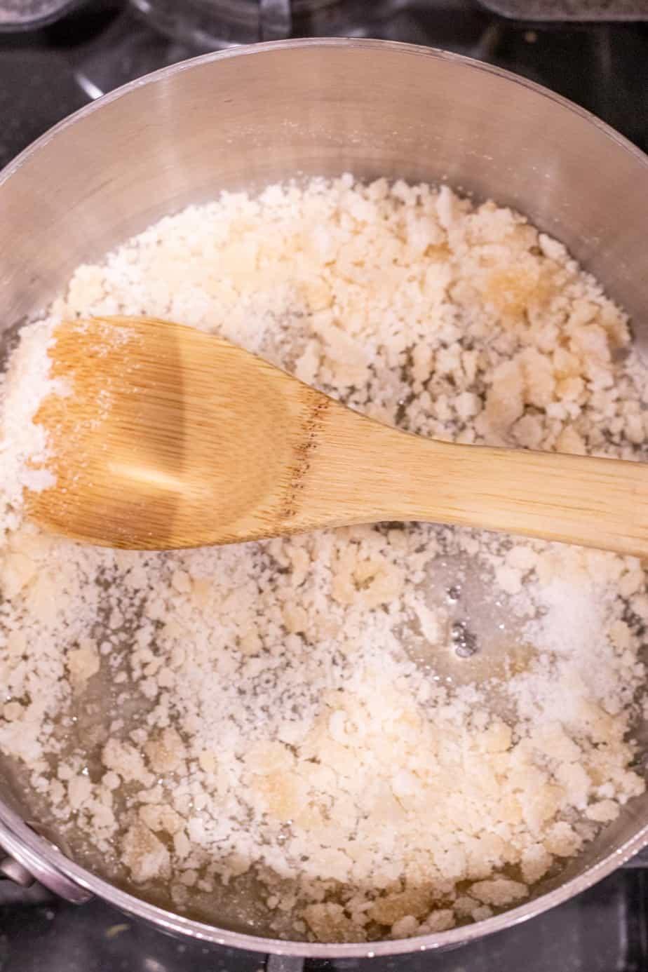 sugar melting in saucepan