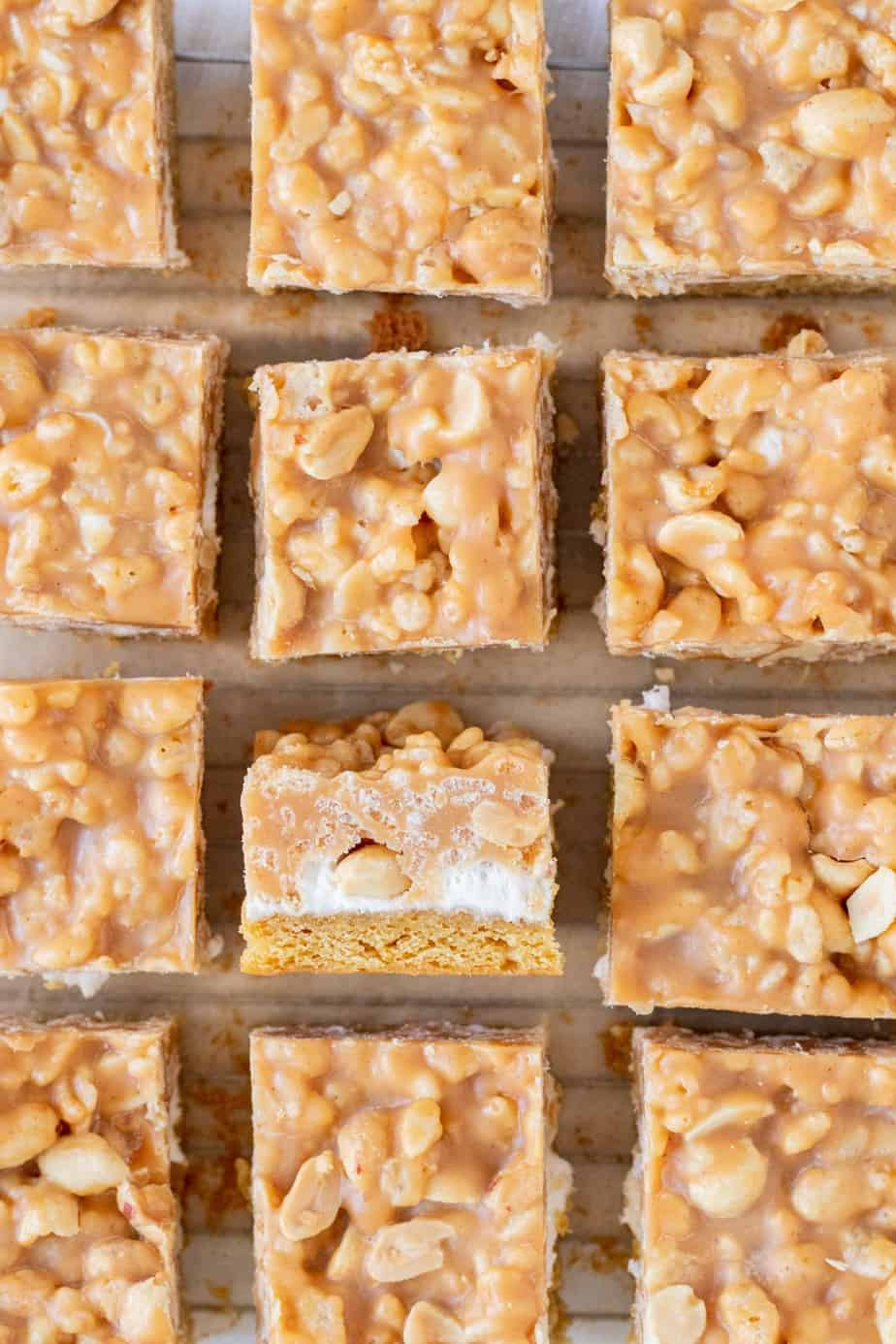salted peanut bars cut into squares