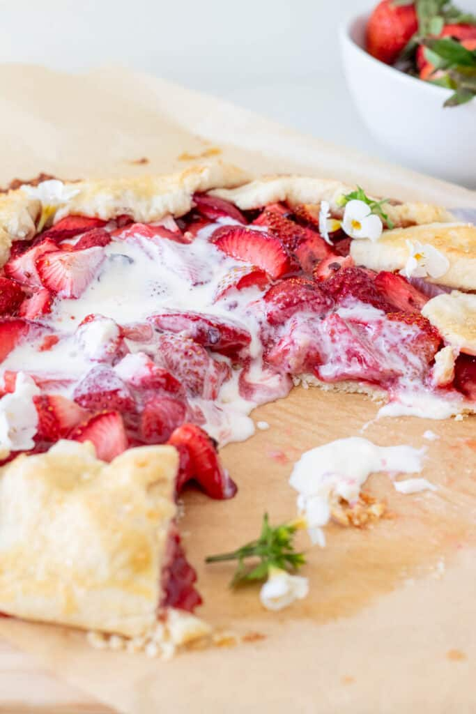 strawberry galette with melted ice cream on top