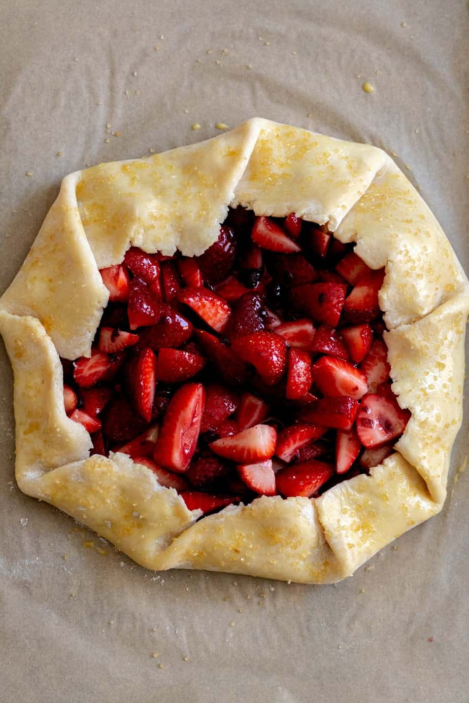 Strawberry galette with edges of dough egg washed