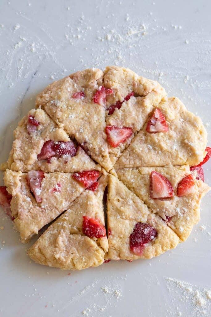 Scone dough cut into 8 pieces