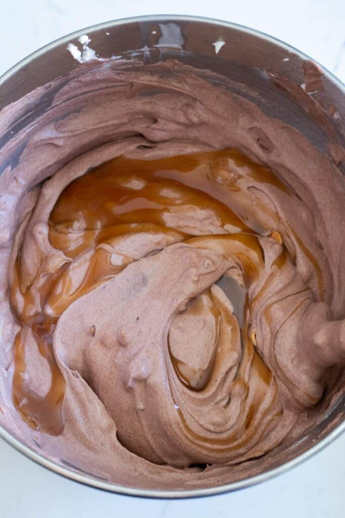 chocolate no-churn ice cream in a mixing bowl