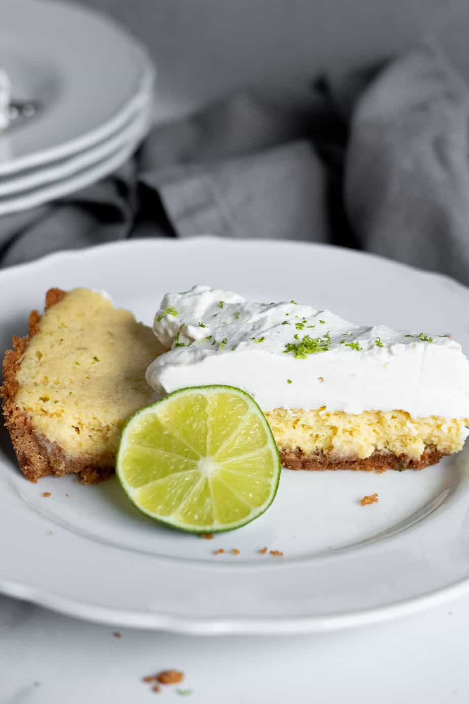 slice of key lime tart on a plate