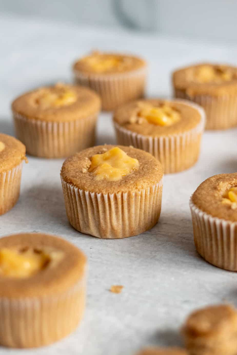 brown sugar cupcakes filled with peach filling