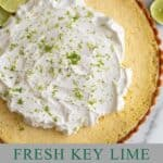 Lime tart with whipped cream
