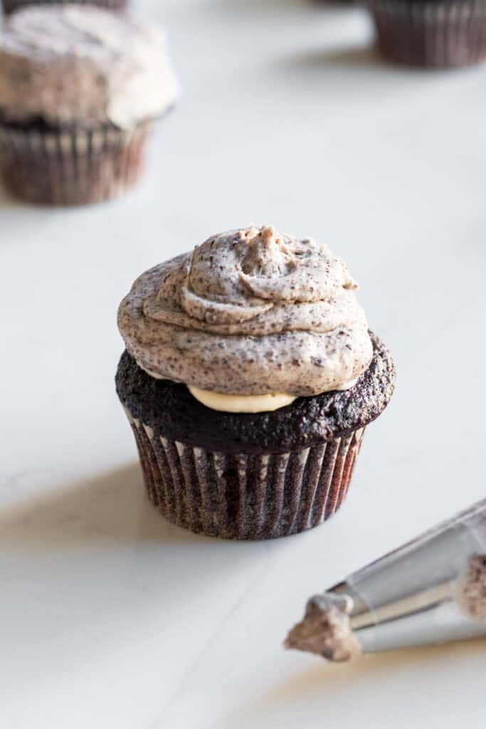 chocolate cupcake frosted with oreo buttercream